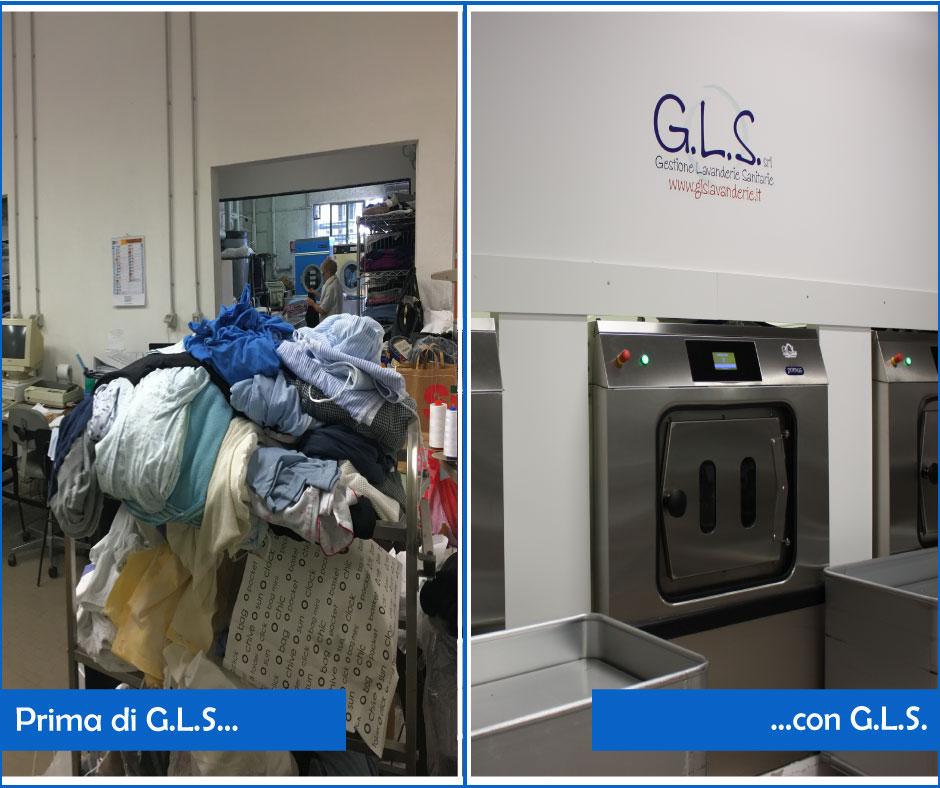 Confronto lavanderia prima e dopo GLS